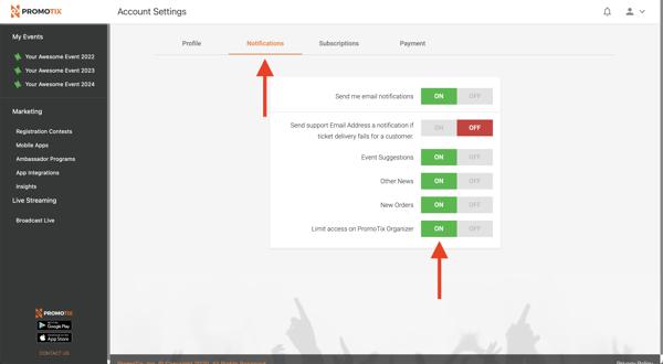 PromoTix Limit Access on PromoTix Organizer