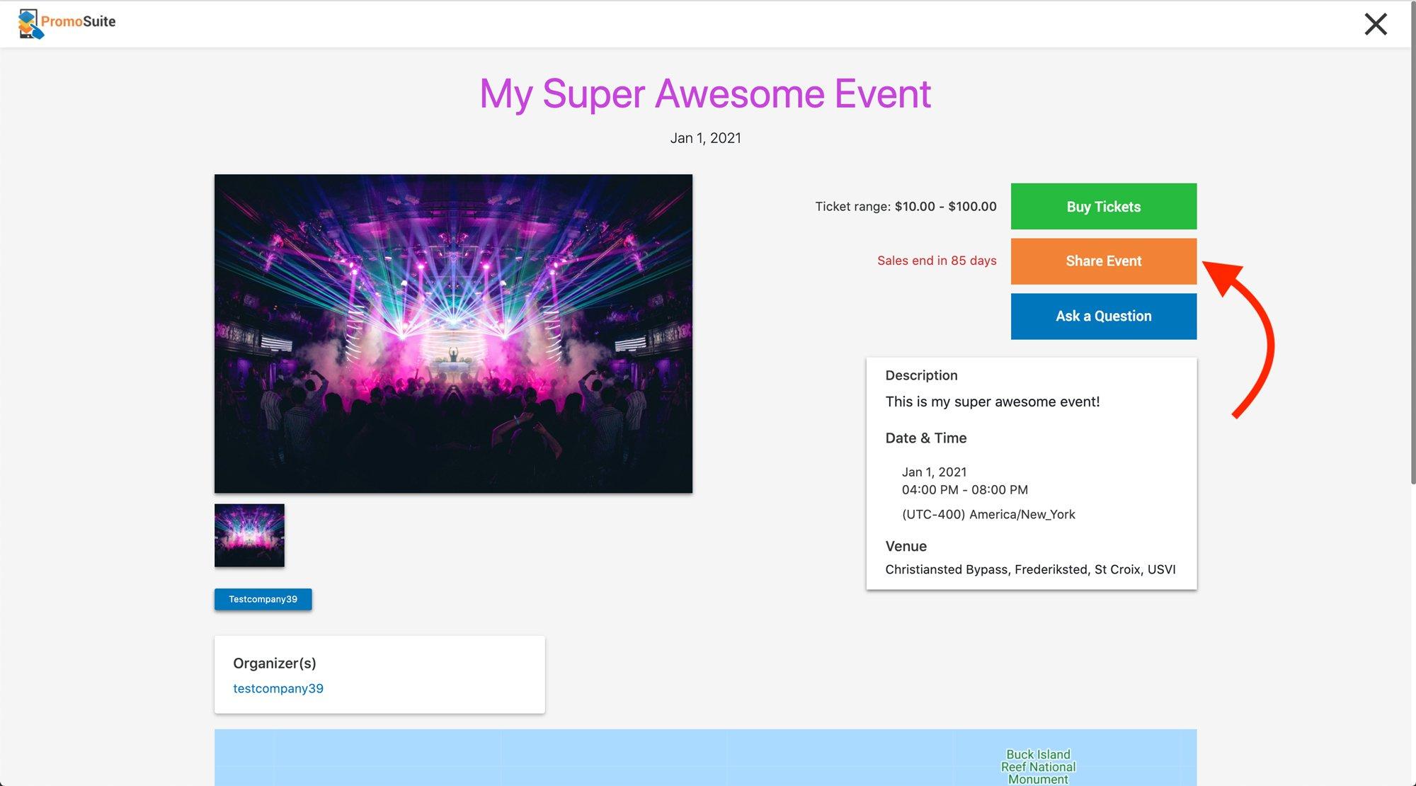 PromoTix Event Page URL