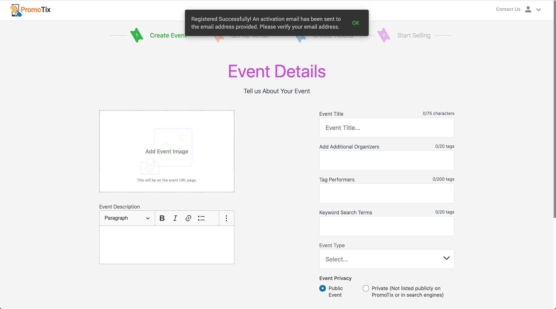 PromoTix Verify Email Address
